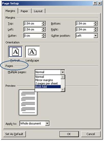 How to create a booklet and print it word 2010 from A4 to A5