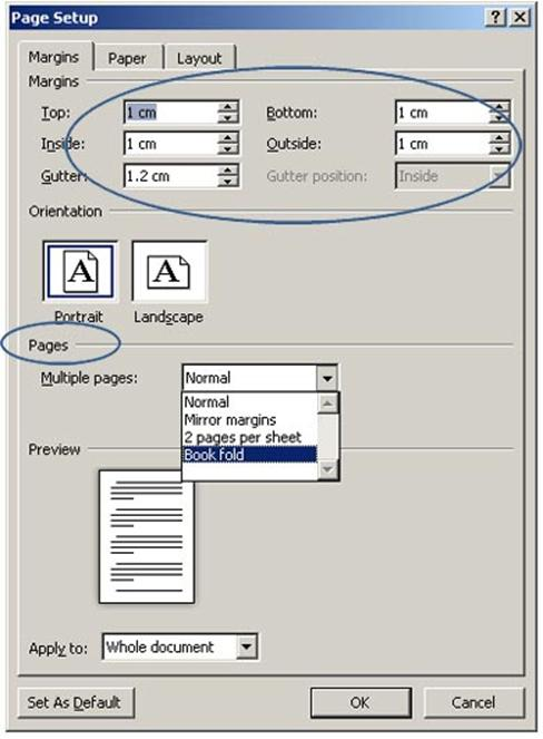 How to create a booklet and print it word 2010 from A4 to A5 as well