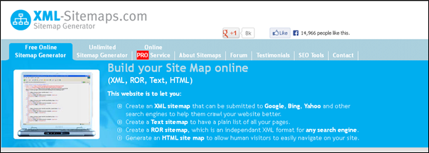 create an xml sitemap that can be submitted to google bing yahoo